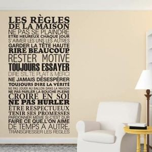 stickers regles de la maison achat vente stickers regles de la maison pas cher soldes d s. Black Bedroom Furniture Sets. Home Design Ideas