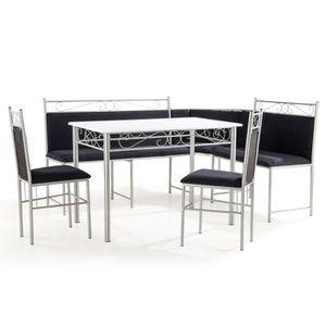 TABLE À MANGER COMPLÈTE Set Table + banc MDF noir