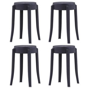 TABOURET X4 Tabourets empilables Noir Plastique - DM247278T
