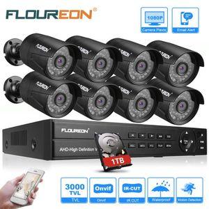 CAMÉRA DE SURVEILLANCE FLOUREON DVR 1 X 8CH 1080P 1080N AHD + 8 X Kit Cam