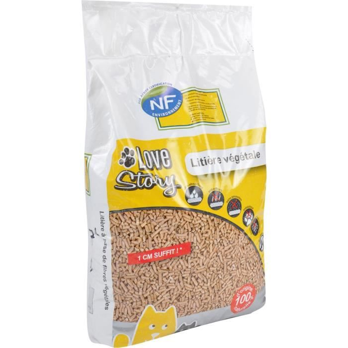Litière végétale 7 L - Granulés 100% fibres végétales - Pour chat