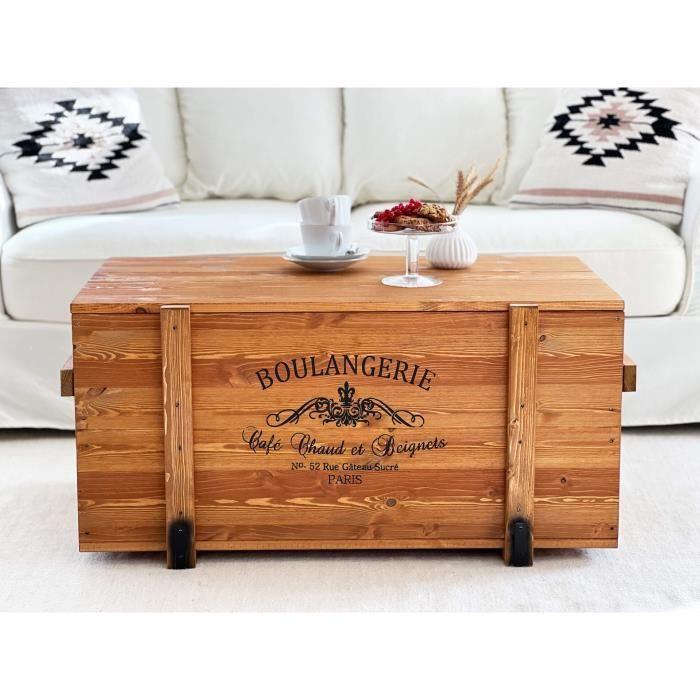 Table Basse, Table d'appoint vintage style shabby chic, Caisse en bois, Coffre en bois Massif, Noyer