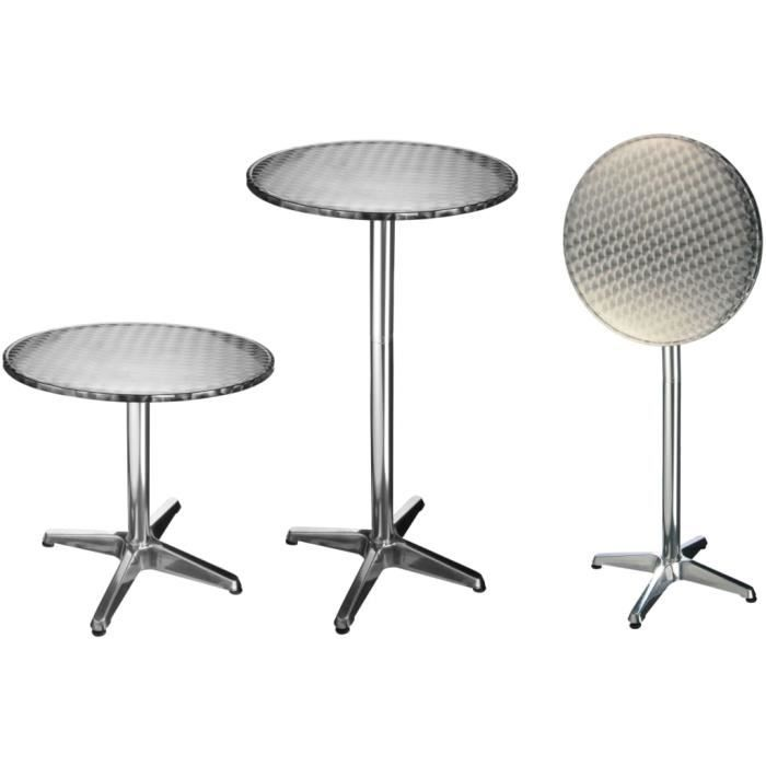 Moderne - Table de bistro de jardin, Table de Bar, Table de Balcon pliable Aluminium Rond 60 x 60 x (58-115) cm7532
