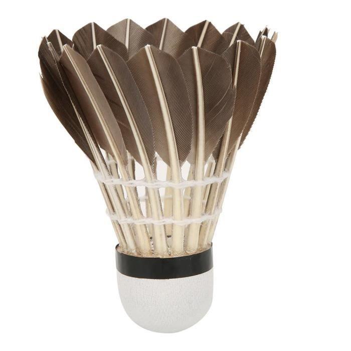 12PCS LEIJIAER 1003 Volants de badminton en plumes d'oie noire pour l'entraînement sportif (Badminton d'entraînement noir)-CHD