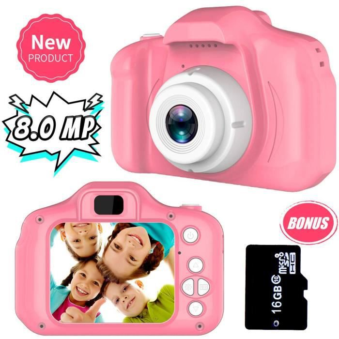 Appareil photo numérique Enfant, rechargeable 8MP caméra/Vidéo Record+Carte TF 16 Go Cadeaux Anniversaire Noël [Rose]