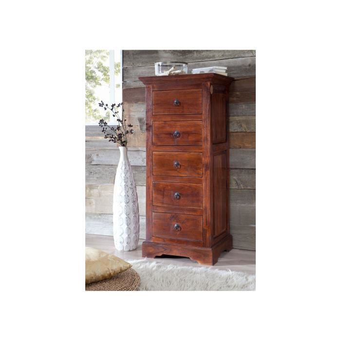 Commode - Bois massif d'acacia laqué (Nougat) - Style colonial - OXFORD #433