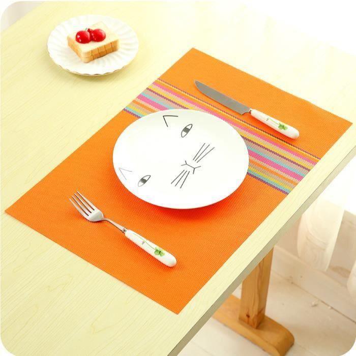 LR Lot de 4 Set de table - Style européen - 45x30 cm - Orange - LRPRM824A0494