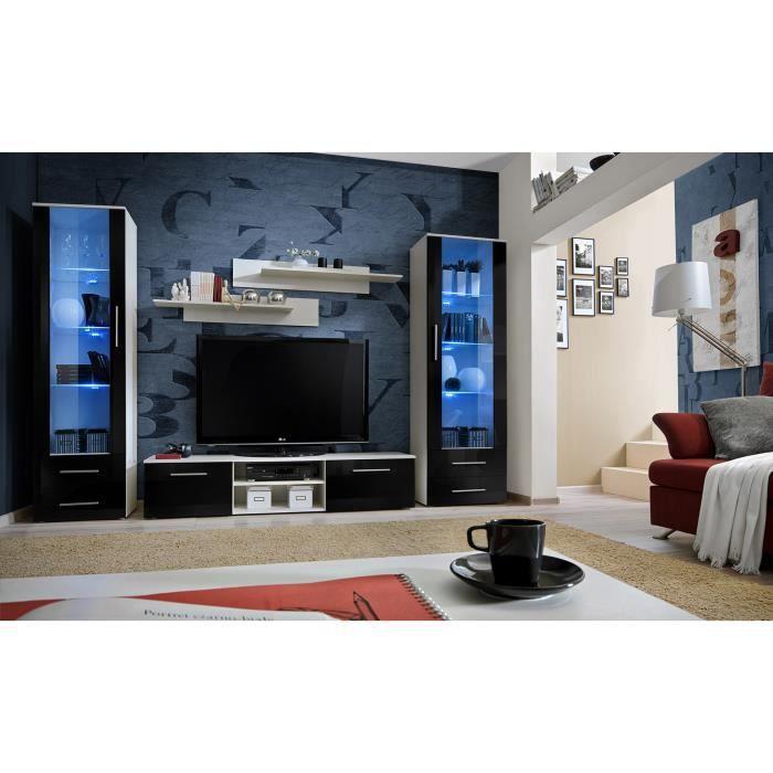 PRICE FACTORY - Meuble TV GALINO C design, coloris blanc et noir brillant. Meuble moderne et tendance pour votre salon.