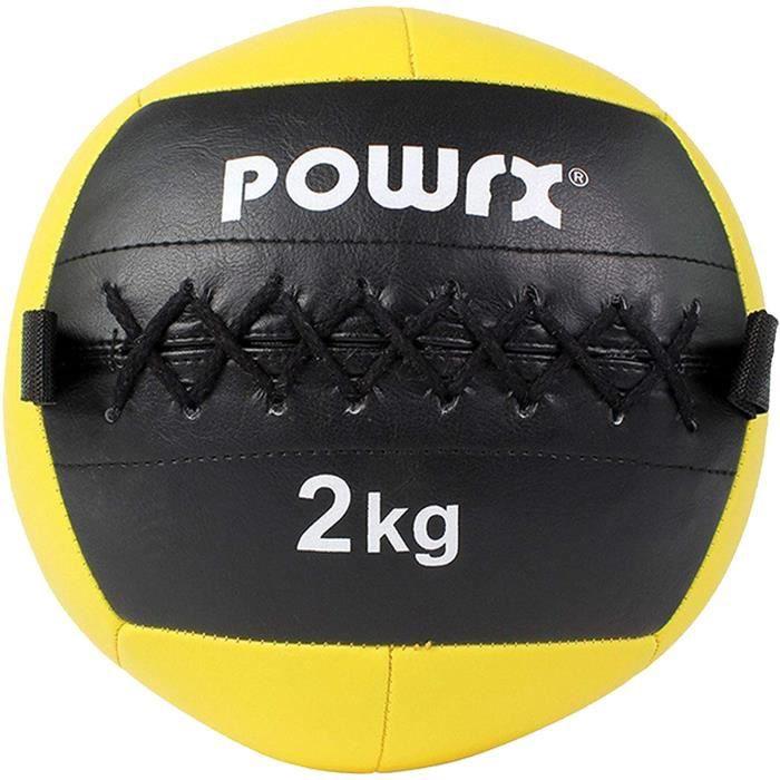 POWRX Wall Ball / Idéal pour les exercices de remise en forme fonctionnelle, de crossfit et de musculation (2 kg Jaune)