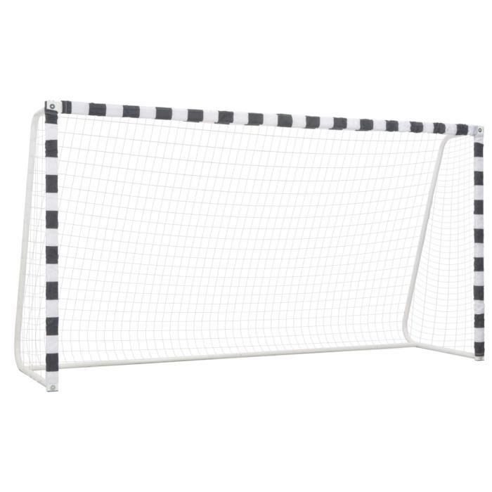 Elégant But de football Style contemporain - Cage De Football 300x160x90 cm Métal Noir et blanc ☺91871