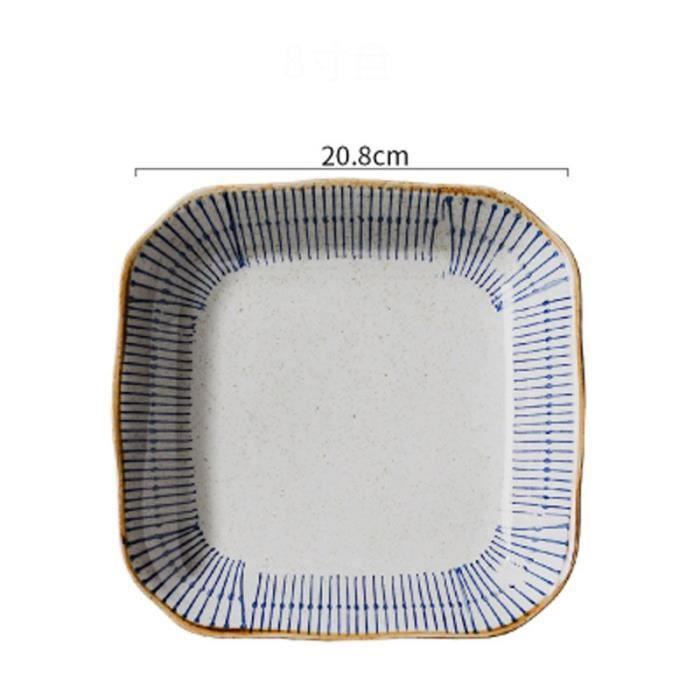 Assiette,FANCITY – assiette carrée en céramique de style japonais,vaisselle de ménage,assiette carrée sous - Type 2