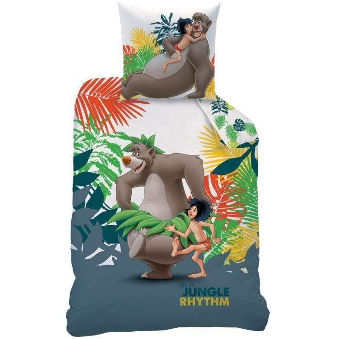 LE LIVRE DE LA JUNGLE - Parure de lit : Housse de Couette (140x200) + Taie d'Oreiller (63x63) - 100% Coton - imprimé Mowgli Rythm