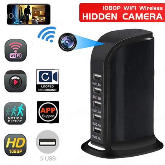 Caméra cachée WIFI 1080p Caméra de sécurité Enregistreur vidéo + 5 chargeur rapide de port USB