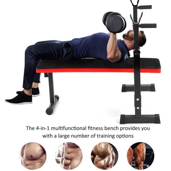 Banc d'entraînement, banc de musculation réglable, avec support de squat Banc d'entraînement pliable, poids 200 kg 4 en 1 pou HB014