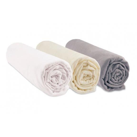 Lot de 3 draps housses coton bio - 32x72 - Noisette blanc écru