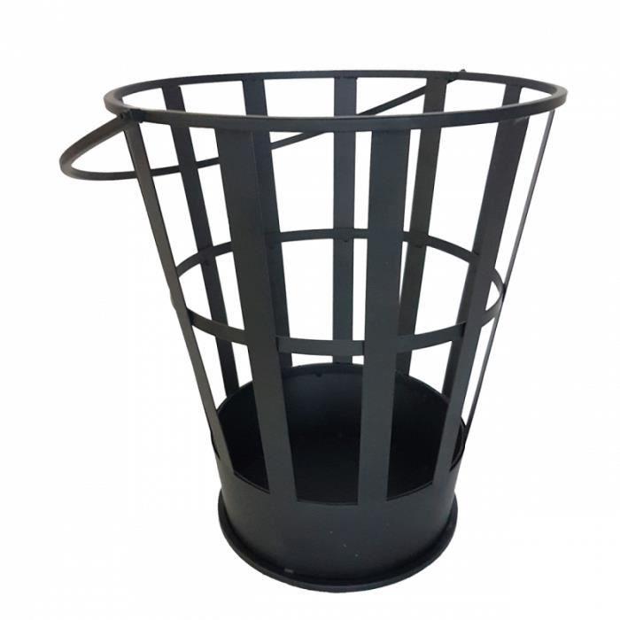 Barbecue - Brasero en forme de seau - L 35 x l 37 x H 40 cm - Fer Noir