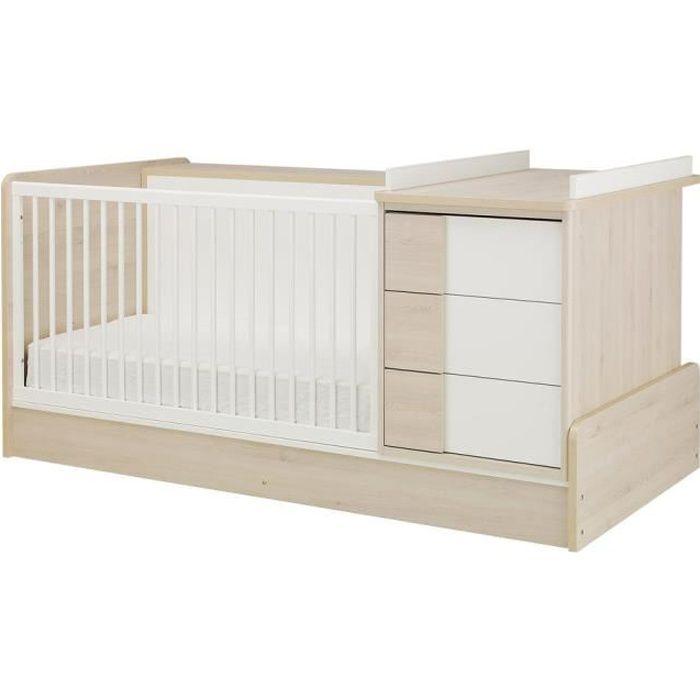 Lit bébé combiné évolutif 70x140cm 5 en 1 bibliothèque au dos SACHA - Sans tiroir