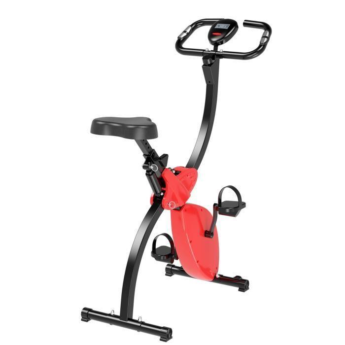 Vélo d'appartement cardio Fitness pliable écran LCD niveaux de résistance selle réglable rouge 43x90x115cm Rouge