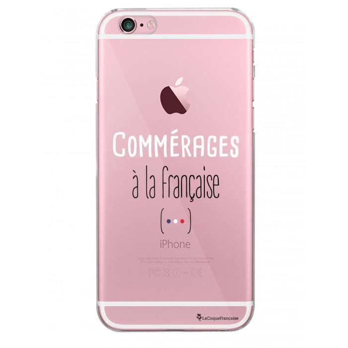 Coque iPhone 6 iPhone 6S rigide transparente Commérages à la française Ecriture Tendance et Design La Coque Francaise