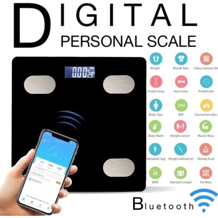 Pèse Personne Connecté, Balance Impédancemètre Numérique APP 13 Indices Corporelles Grand Écran LCD Charge MAX.180kg