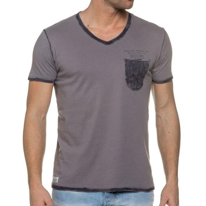 Tee Shirt Col V Gris Pocket Tees