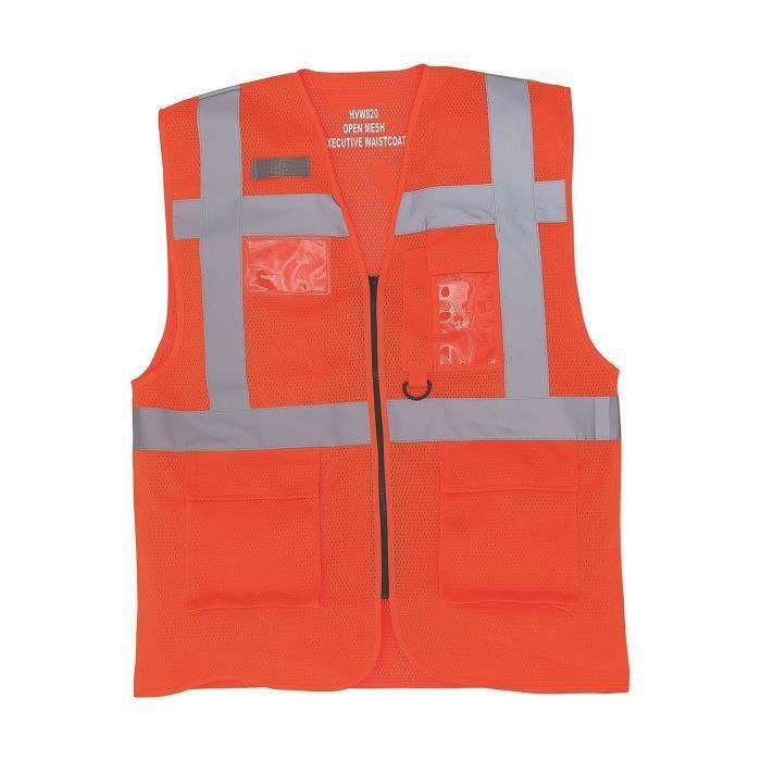 Gilet de sécurité zippé maille - orange fluo - HVW820