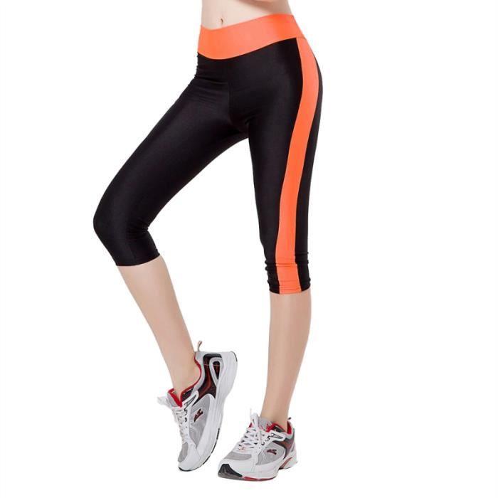 Pantalons de yoga élastiques pour femmes Leggings d'entraînement Collants de course extensibles avec poches Taille L (noir et