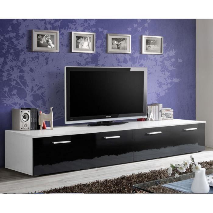 Meuble Tv Design -duo- 200cm Noir & Blanc - Paris Prix