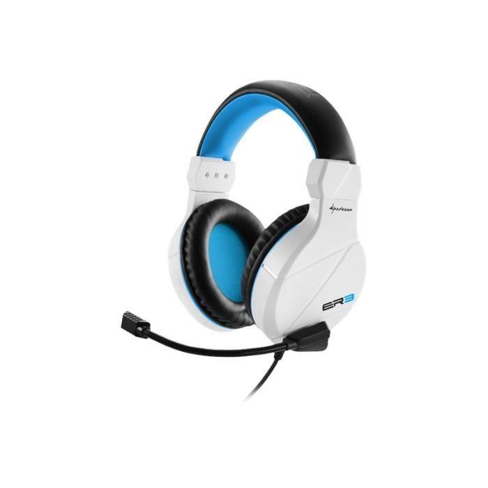 Sharkoon Rush ER3 Casque pleine taille filaire blanc-bleu
