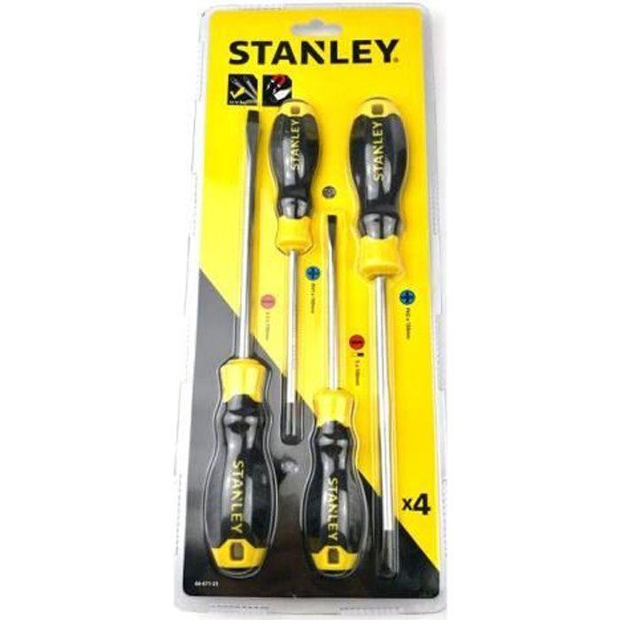 Stanley 4pcs série B poignée en caoutchouc un jeu de tournevis Phillips, outil magnétique puissant de qualité industrielle