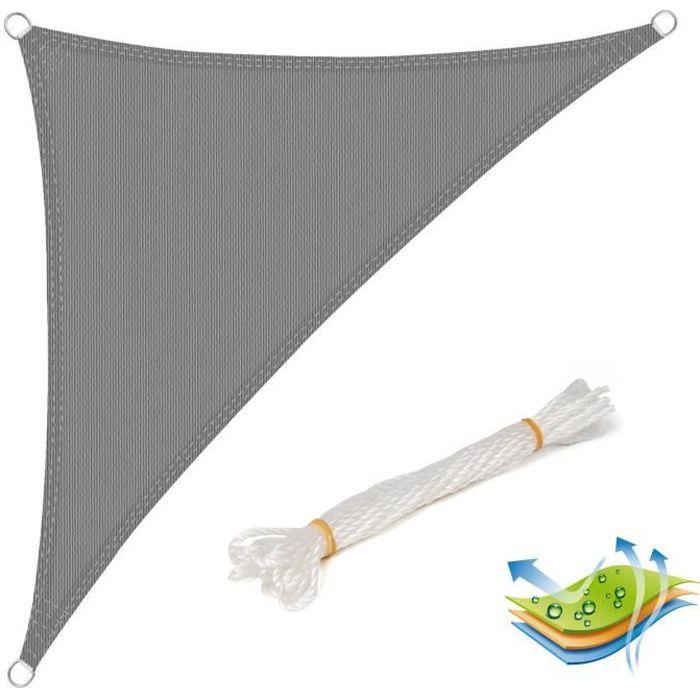 WOLTU Voile d'ombrage triangulaire en HDPE, protection contre le soleil avec protection UV pour jardin ou camping,3x3x4.25m Gris