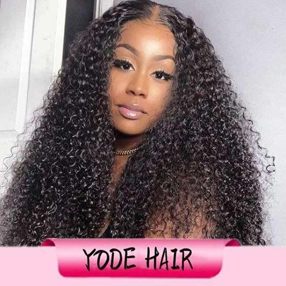 22 pouce 100% cheveux humains 150% densité 13x4 Lace Front Wig High Kinky Curly Naturel