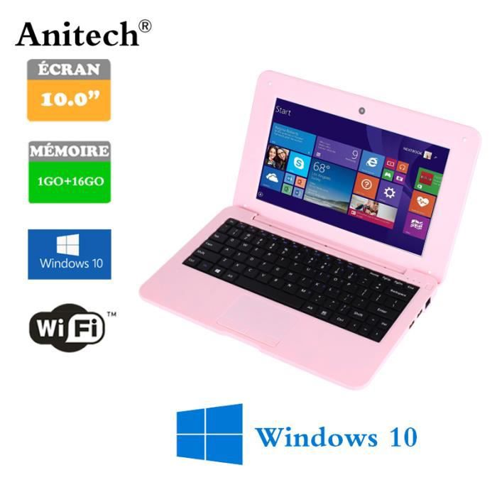 tablette ordinateur portable netbook rose windows 10 hdmi wifi sd mmc ram 1go rom. Black Bedroom Furniture Sets. Home Design Ideas