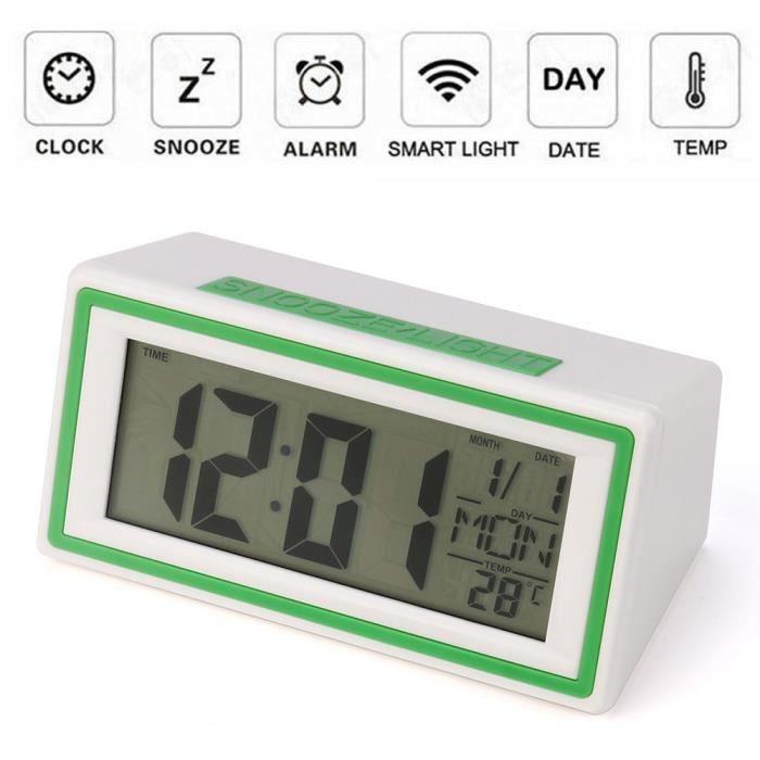 Digital Snooze Alarme Horloge Rétroéclairage DEL Table de temps d/'Horloge Température Calendrier