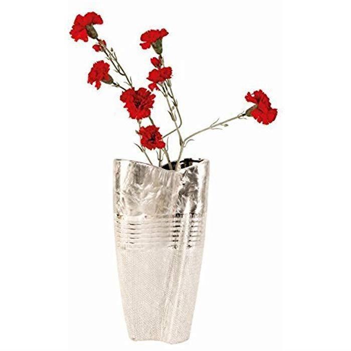 Vase d/écoratif en Forme de c/œur C/éramique Blanc//argent/é Hauteur de 22 cm