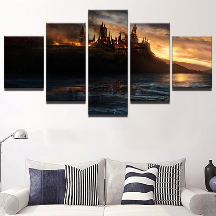 5 pi ces harry potter flamme ch teau peinture affiche du for Decoration maison harry potter