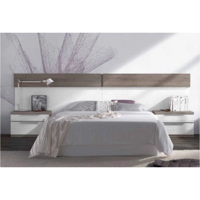 t te de lit chevets ch ne gris et blanc achat vente. Black Bedroom Furniture Sets. Home Design Ideas