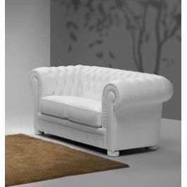 Canap chesterfield 2 places en cuir blanc whitepool l176 for Canape cuir blanc 2 places