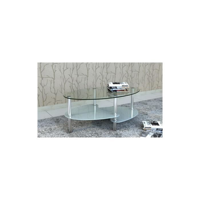 Table de salon table basse ovale blanche en verre achat vente table bas - Table basse ovale blanche ...