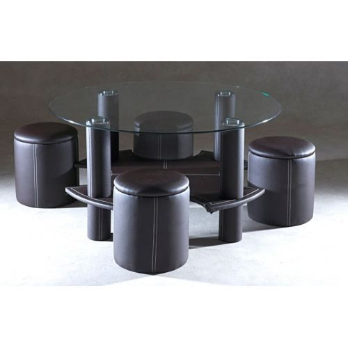 Katrassi table basse ronde avec poufs chocolat achat for Table basse ronde avec poufs integres