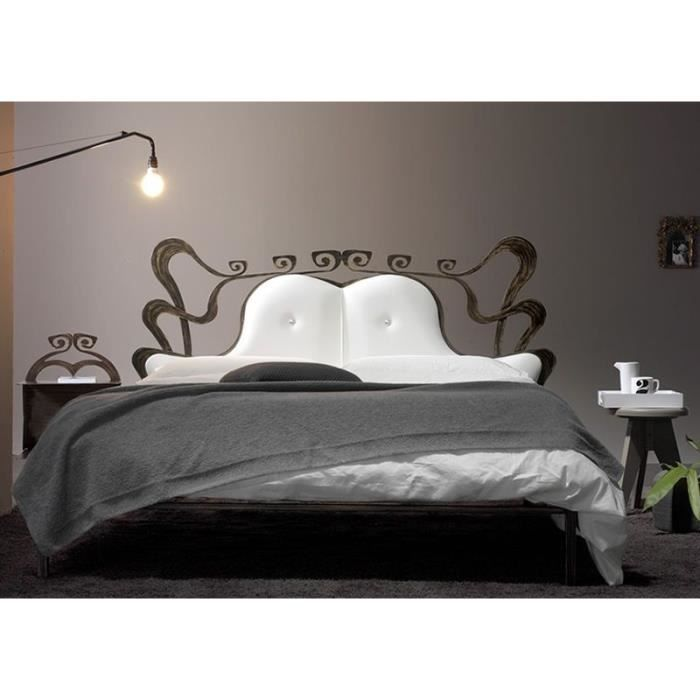 lit fer forg et similicuir blanc 160x200 cm achat. Black Bedroom Furniture Sets. Home Design Ideas