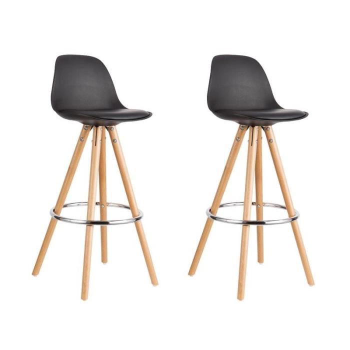 first lot de 2 tabouret de bar design noir pieds bois achat vente tabouret de bar noir. Black Bedroom Furniture Sets. Home Design Ideas
