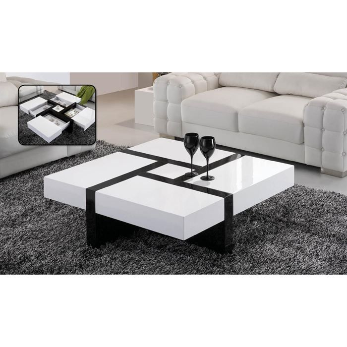 Table basse laqu e noir et blanc emilie achat vente - Table basse transformable en table haute ...
