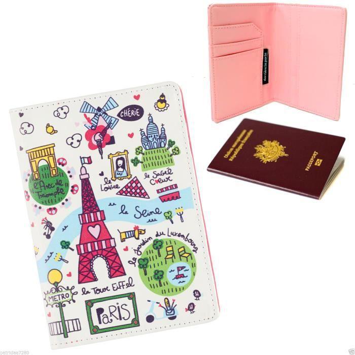 Prot/ège-passeports Etui Pochette Passeport Couverture Housse Simili Accessoire Voyage Vacances Prenom Personnalise Personnalisable