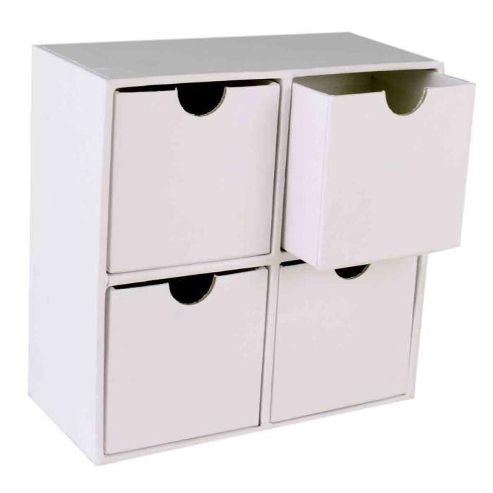 Meuble Rangement Carton Blanc 4 Tiroirs 13 5 X 13 5 X 6 Cm Megacrea Couleur Achat Vente Kit Scrapbooking Meuble Rangement Carton Blanc Cdiscount