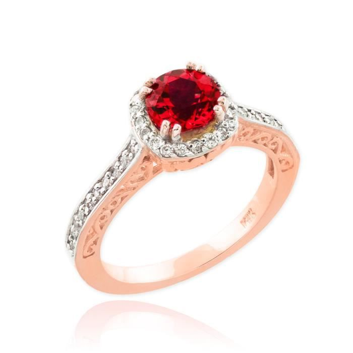 Bague Femme Alliance 10 ct Or rose 471/1000 Halo Diamant Pave Rubis