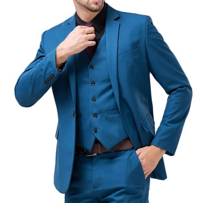 costume homme mode seul bouton costumes 3 pi ce bleu royal achat vente costume tailleur. Black Bedroom Furniture Sets. Home Design Ideas