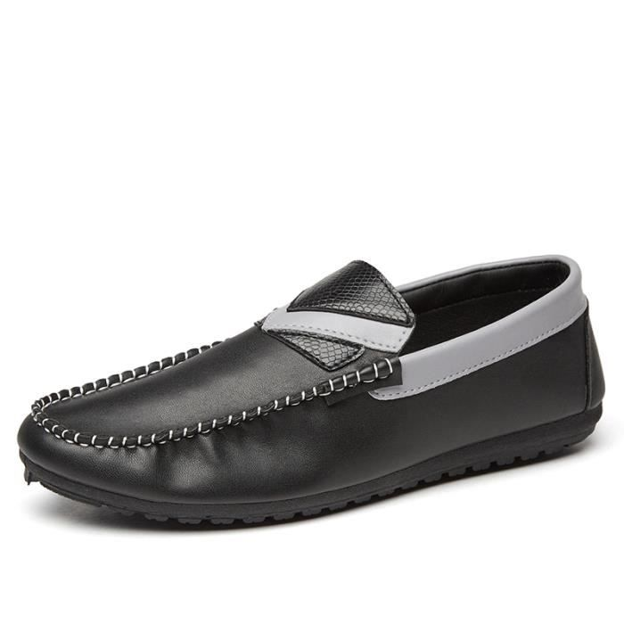 Casual Noir Moccasin Chaussures blanc Respirant Flat confortable Doux Cuir en Hommes BwdzId