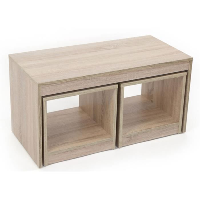 table basse marron clair avec 2 tag res en bois achat. Black Bedroom Furniture Sets. Home Design Ideas