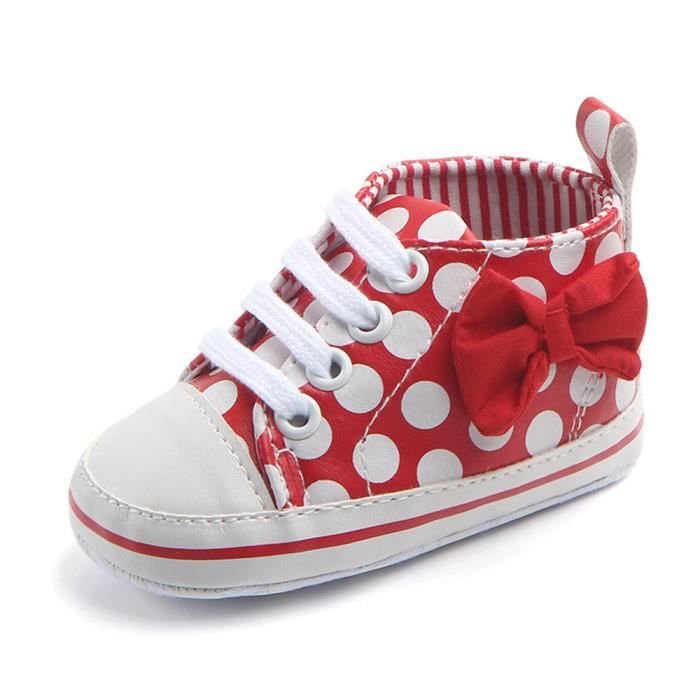 Rouge Bb Sneaker Bowknot Imprimer Mode Anti up Dot slip Lace Enfant 100 Rw Chaussures qaO5qwr